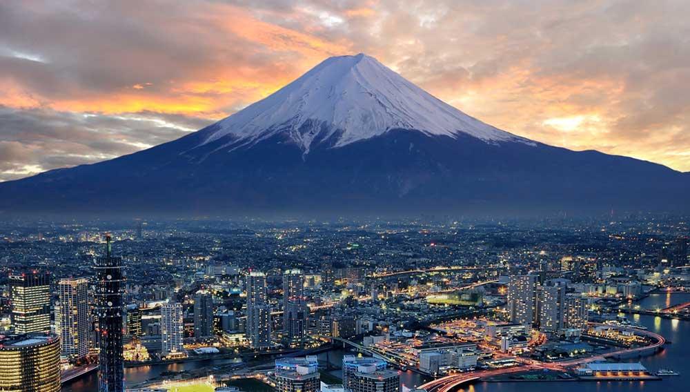 Japan Mount Fuji Sunset over City