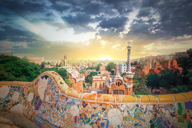 View over Barcelona and Gaudi's work