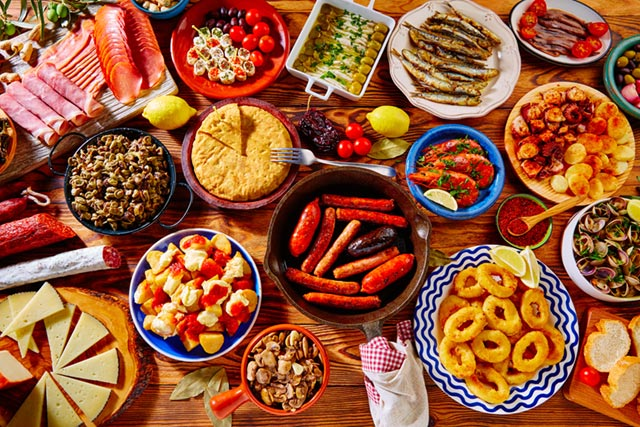 Selection of delicious tapas food