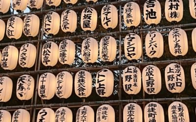 Lanterns with kanji in Japan