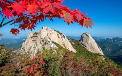 Baegundae peak and Bukhansan mountains in autumn